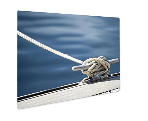 Ashley Giclee Detail Image Of Yacht Rope Cleat On Sailboat Deck, Wall Art Photo Print On Metal Panel, Color, 8x10, Floating Frame, AG6057622