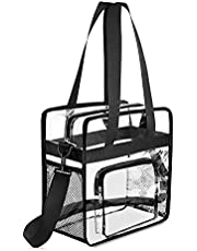Gonex Clear Tote Bag, NFL Stadium Approved Transparent PVC Crossbody Shoulder Bag with Pockets, See Through Bag for Women, Black