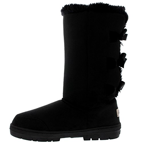 Botas Invierno Mujer Classic Rain Nieve Negro Fur Tall Bow Impermeable Triplet 17YqzwT
