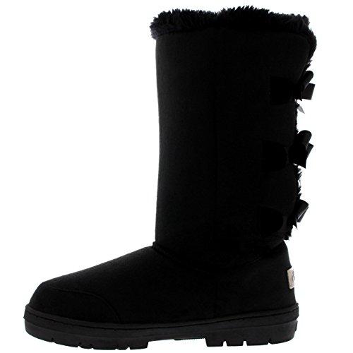 Womens Triplet Bow Hohe Klassische Wasserdichte Winter Regen Schnee Stiefel Schwarz