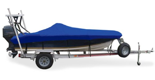 """Taylor Made Products Trailerite Semi-Custom Boat Cover for Flats Boats (16'6"""" to 17'5"""" Center Line Length / 80"""" Beam, Pacific Blue Coated Poly)"""