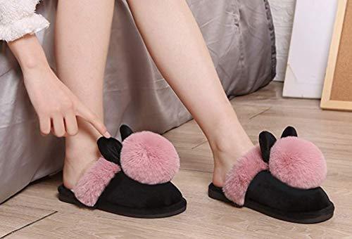 Fuzzy Winter Slippers Pompom Slipper Red Womens Bunny Cute Warm S4BfWqHP