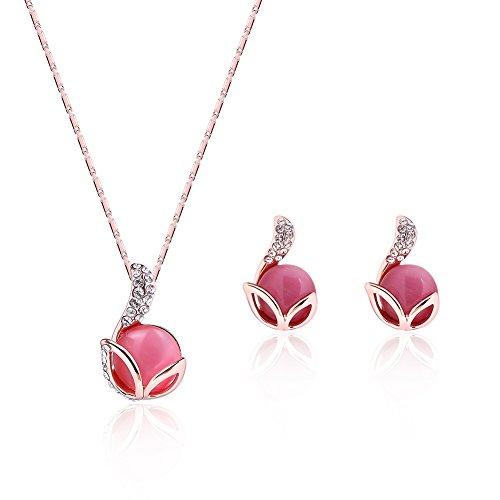 KAVANI Pink Opal Cat's Eye Jewelry Set Rose Gold Plated Zircon Rhinestone Necklace and Earrings Set for Women