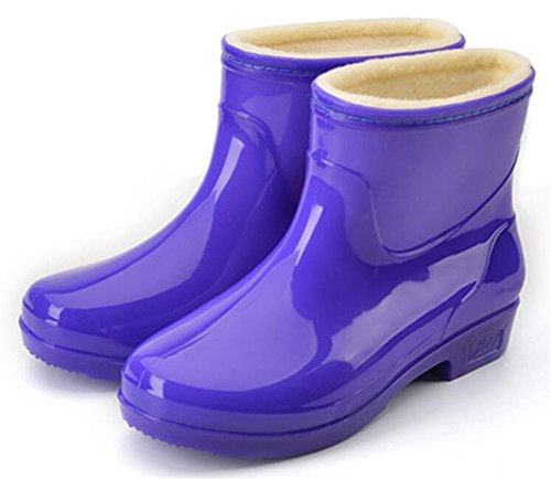 Rubber High Boots Antiskid Purple Shoes Ankle Women's Adult Short Rain SATUKI apCYqW