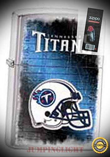 28226 NFL Tennessee Titans Chrome Lighter with Flint Pack - Premium Lighter Fluid (Comes Unfilled) - Made in USA!