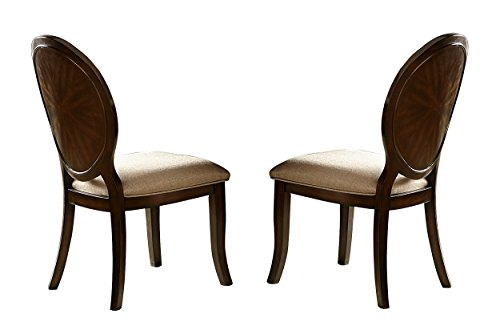 Homelegance Delavan Set of 2 Oval Back Dining Chairs with Fabric Cover Seat, Brown