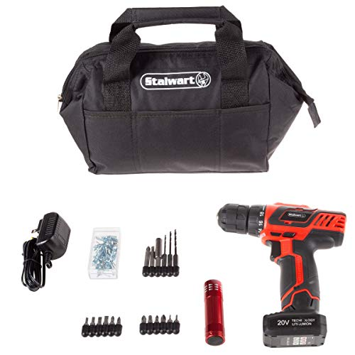 Stalwart 20V Cordless Drill with Rechargeable Lithium Ion Battery & 101 Piece Accessory Set – Portable Power Tool with Bits, Drivers & Bag