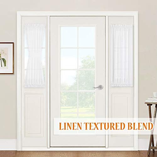 RYB HOME Sidelight Panels Door Window Treatments - Semi Sheer Privacy Curtians for Front Door French Door, with Tiebacks, Set of 2, 30 inch Wide x 40 inch Long, White