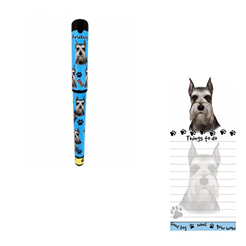 Bundle - 2 Items: Cropped Schnauzer Magnetic List Note Pad & Gel Pen (Schnauzer Cropped)