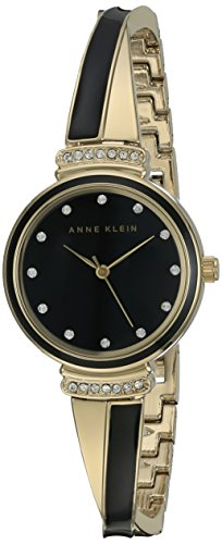 (Anne Klein Women's AK/2216BKGB Swarovski Crystal Accented Gold-Tone and Black Bangle Watch)