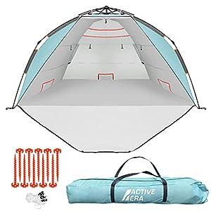 Active Era Luxus Strandzelt mit UV-Schutz (LSF 50+) - Strandmuschel XXL, wasserabweisend, Easy Pitch Aufbau mit…
