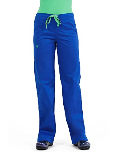 (Med Couture Signature Drawstring Scrub Pants for Women, Royal/Key Lime, Medium Petite)