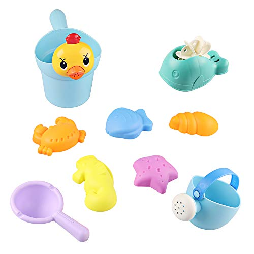 M AOMEIQI Beach Sand Toy Set for Kids Toddlers Baby with Yellow Duck Bucket,Whale Waterwheel,Watering Can,Water Ladle,Sea Animal Molds(Random Color)]()