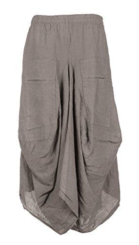 (Ladies Womens Italian Lagenlook Elasticated 2 Slit Pocket Parachute Tulip Long Linen Maxi Skirt One Size (Mocha, One Size))