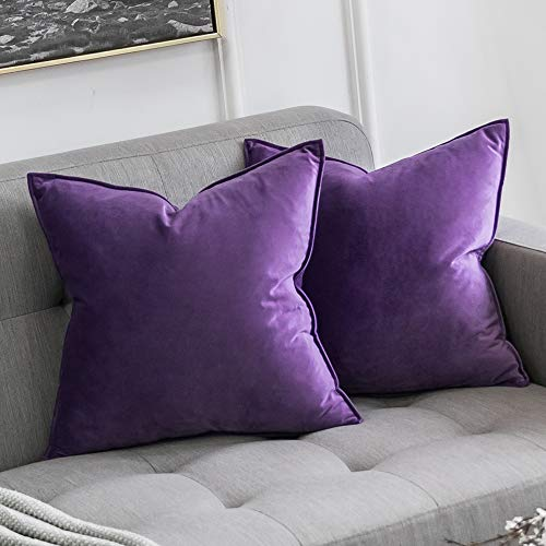 MIULEE Pack of 2 Decorative Velvet Throw Pillow Cover Soft Purple Pillow Cover Soild Square Cushion Case for Sofa Bedroom Car 18x 18 Inch 45x 45cm (Pillows Purple And Silver)