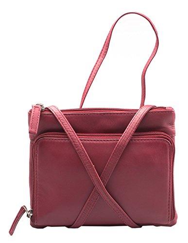 Visconti Atlantic - Handtasche / Umhängetasche für Damen - weiches Echtleder - # 01684 Rot 5wrWuIH