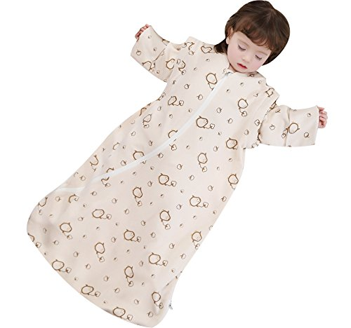 Cyuuro Baby Organic Detachable Sleeves Toddler Wearable Blanket Thickened, Medium