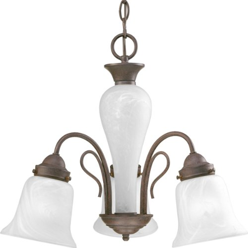 - Progress Lighting P4390-33 3-Light Chandelier with Etched Alabaster Glass Shades and Center Column, Cobblestone