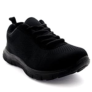 Get Fit Mens Mesh Running Trainers Athletic Walking Gym Shoes Sport Run – Black/Black 43 – BT0047