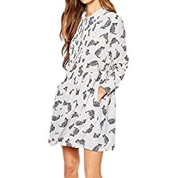 HAODUOYI Fasion Women Cat Print Chiffon Shirt Dress M