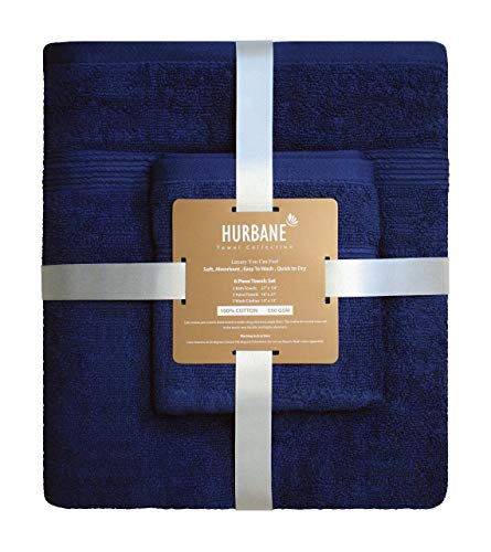 Blancho Bedding HURBANE Premium 6 Piece 550 GSM 2 ply 100% Cotton Luxury Towel Set with 2 Bath Towels, 2 Hand Towels, 2 Wash Cloth, Better Than 5 Star Hotel Grade, Navy Blue from Blancho Bedding