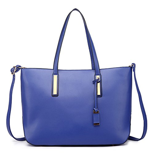 Blue Faux Bag Tote Adjustable Leather Lulu Handle Miss Women's 6wq701xE8