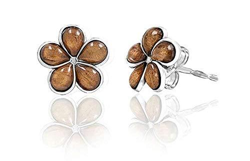 Wood Earrings Palm (Sterling Silver Koa Wood Plumeria Stud Earrings (7mm))