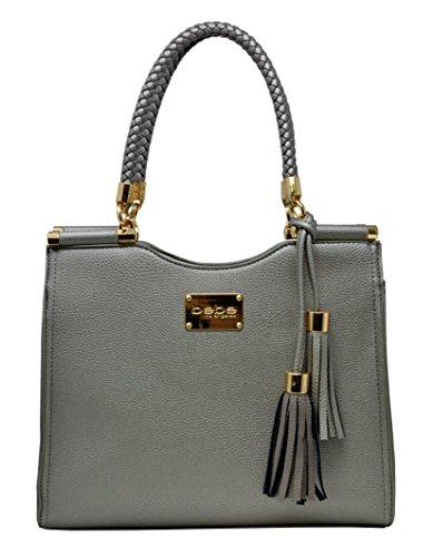 Bebe Women's Natalie Shopper Handbag Tote Shoulder Bag with Braided Handle (Braided Shoulder Tote)