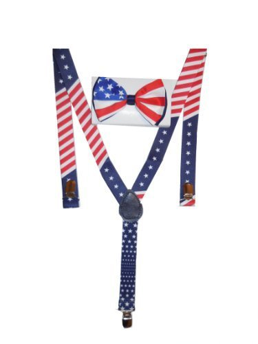 Men's Unisex Awesome PATRIOTIC USA FLAG Suspenders And Matching Bow tie (Red White And Blue Suspenders)