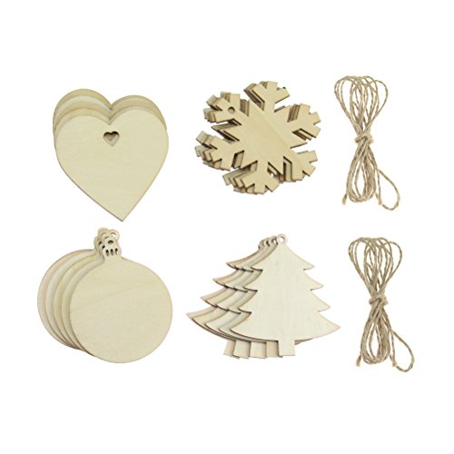 20 PCS Wooden Christmas Hanging Ornaments Christmas Tree Snowflake Shaped Embellishments for Festival Wedding Decoration, Wood Slices with Holes, 4 Styles
