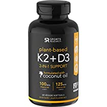 Vitamin K2   D3 with Organic Coconut Oil for Better Absorption | 2-in-1 Support for Your Heart, Bones
