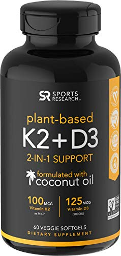 Free Test 100 Capsules - Vitamin K2 + D3 with Organic Coconut Oil for Better Absorption | 2-in-1 Support for Your Heart, Bones & Teeth | Vegan Certified, GMO & Gluten Free (60 Veggie Softgels)