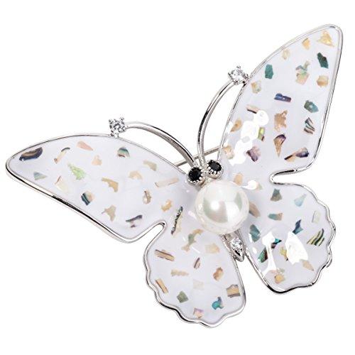 Hiddeston Jewelry Shell Pearl Cubic-Zirconia CZ Butterfly Brooch Pin For Women
