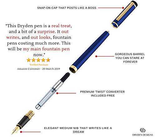 Dryden Luxury Fountain Pen [MYSTERIOUS BLUE]   Modern Classic Limited Edition   Executive Fountain Pens Set   Vintage Pens Collection   Business Gift Pen   Calligraphy   Ink Refill Converter by Dryden Designs (Image #3)