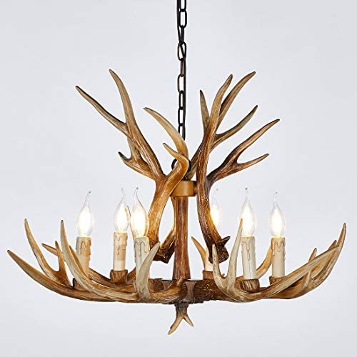 HUITICO Antler Chandelier 6 Light Vintage Style Resin 28 Large Faux Chandeliers American Countryside Deer Horn Lamps for Living Room, Bar, Cafe, Kitchen, Dining Room