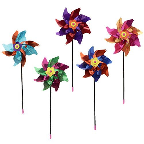 Baoblaze Pack of 10 Pieces Plastic Rainbow Shiny Pinwheel Windmill Wind Wheel Kid Whirligig Toy Garden Lawn Sculpture Party Festival Decor
