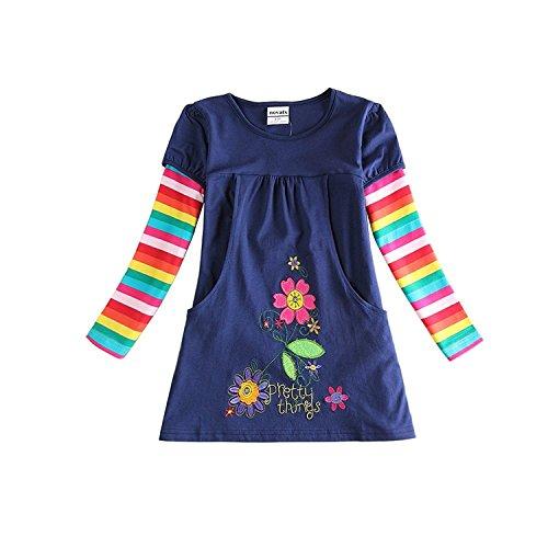 Novatx Long Sleeves Cotton Girls Dress H5802 Navy(6/7y) (6/7y, navy) -