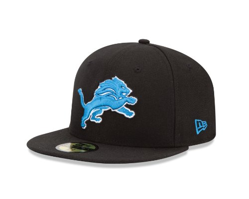 NFL Detroit Lions Black and Team Color 59Fifty Fitted Cap, Black/Black, 7 1/8 (Team Nfl Hat)