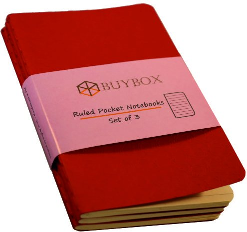 Red Pocket Ruled notebook (set of 3) – 140 x 90 mm BUYBOX Manufactory Limited