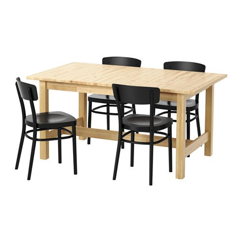 Ikea Table and 4 chairs, birch, black 4204.2058.2214