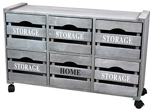 Rustic Gray Cabinet Storage Chest with 6 Crate Style Drawers, Free Optional Rolling Casters Included