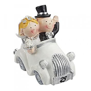 Amazon De Hochzeitspaar Silberhochzeit 25 Jahre Paar Im Auto Deko