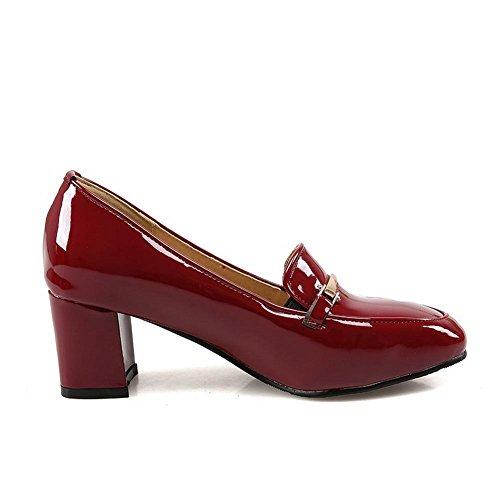 Allhqfashion Donna In Vernice In Vernice Massiccia Tira Su Punta Quadrata Chiusa Gattino Tacchi Pumps-scarpe Claret