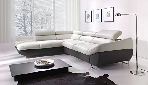 Creative Furniture Fabio Sectional with Sleeper and Storage Left Facing Chaise, Light Gray/Dark Gray