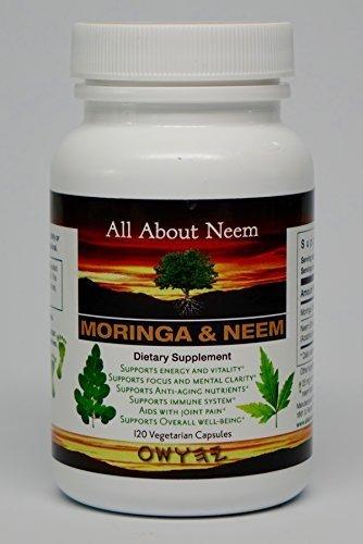 Moringa Neem Leaf Capsules All Natural Organic 120 Count Vegatarian Capsules Made in USA Moringa Oleifera 400 mg Azadirachta Indica 500mg - Natural Body Cleanse, Energy Booster