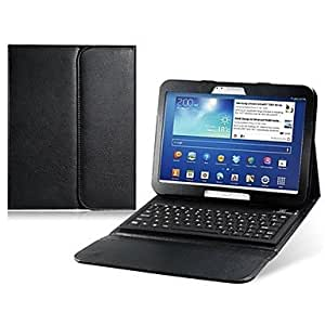 DUR Faux Leather Flip Case with Bluetooth Keyboard for Samsung Galaxy Tab 10.1(Assorted Colors) , Red