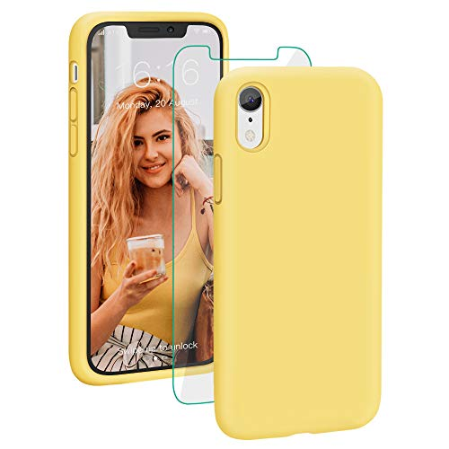 Probien Case For Iphone Xr Liquid Silicone Full Protective Phone Cover With Free Tempered Screen Protector Shockproof Shell For Iphone Xr Yellow