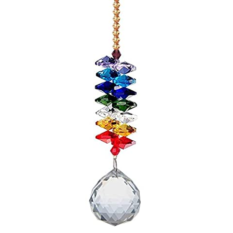 Waltz&F Chandelier Crystal Ball Prisms Rainbow Octagon Beads Chakra Suncatcher for Gift,Car,Window (Crystal Suncatcher Chakra)