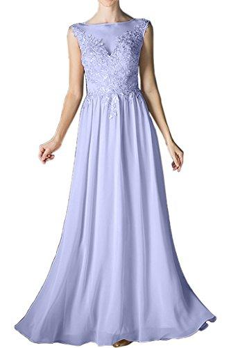 Damen Promkleid A lang Beliebt Spitze Linie Abendkleid Chiffon Rundkragen Lila Brautjungfernkleid Festkleid Ivydressing dgx4qd