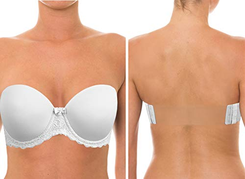 Strapless Clear Back Halter Bra Invisible Strap Backless Lightly Padded Brassiere for Wedding Bridesmaid Dress White, 38D